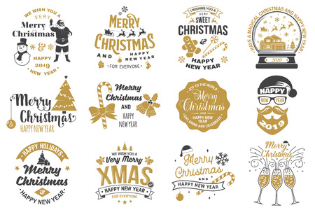 Set of Merry Christmas and Happy New Year stamp, sticker set with snowflakes, hanging christmas ball, santa hat, candy.