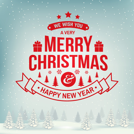 We wish you a very Merry Christmas and Happy New Year stamp, sticker set with snowflakes, christmas tree, gift. Illustration