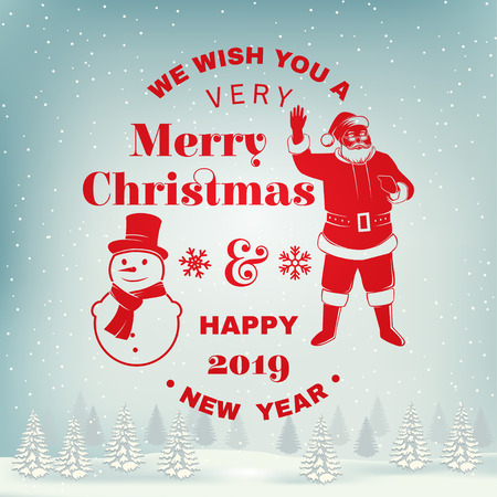 We wish you a very Merry Christmas and Happy New Year stamp, sticker set with snowmans and Santa Claus. Vector illustration. Stock Vector - 110212795