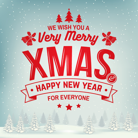 We wish you a very Merry Christmas and Happy New Year stamp, sticker set with holly, berry, christmas tree, bell. Ilustrace