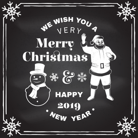 We wish you a very Merry Christmas and Happy New Year stamp, sticker set with snowmans and Santa Claus. Vector illustration. Illustration