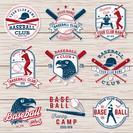 Set of baseball or softball club badge. Vector illustration. Concept for shirt or logo, 向量圖像