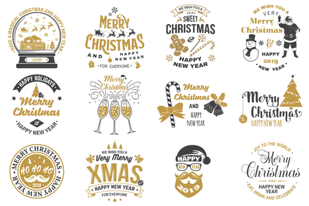 Set of Merry Christmas and Happy New Year stamp, sticker set with snowflakes, hanging christmas ball, santa hat, candy. Foto de archivo - 111206595