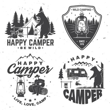 Campeur heureux. Illustration vectorielle. Concept pour chemise ou logo, impression, timbre ou tee.