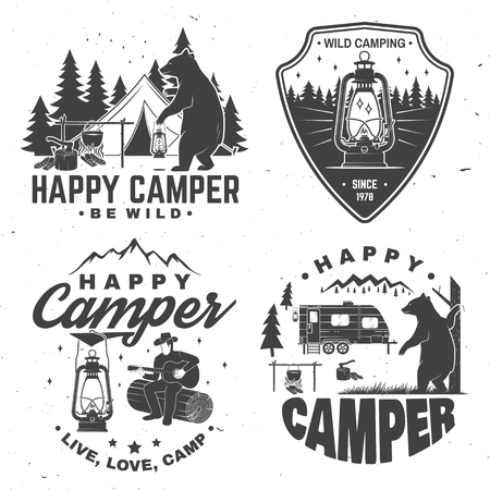 Happy camper. Vector illustration. Concept for shirt or logo, print, stamp or tee. Stock Illustratie