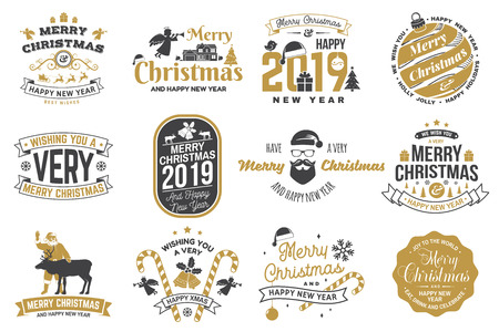 Set of Merry Christmas and Happy New Year stamp, sticker set with snowflakes, hanging christmas ball, santa hat, candy. Vetores