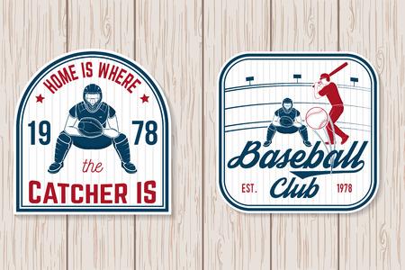 Set of baseball or softball club badge. Vector illustration. Concept for shirt or logo, 向量圖像