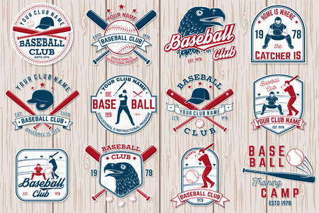 Zestaw odznaki klubu baseballu lub softballu. Ilustracja wektorowa. koncepcja koszuli lub logo, Logo