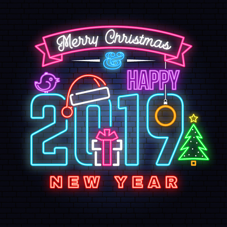 Merry Christmas and 2019 Happy New Year neon sign with snowflakes, hanging christmas ball, santa hat, candy.