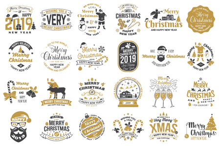 Set of Merry Christmas and Happy New Year stamp, sticker set with snowflakes, hanging christmas ball, santa hat, candy. Banque d'images - 111206679