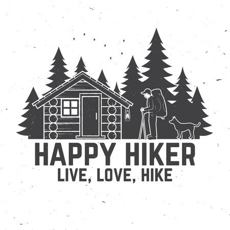 Happy hiker. Live, love, hike. Extreme adventure. Vector illustration. Illustration