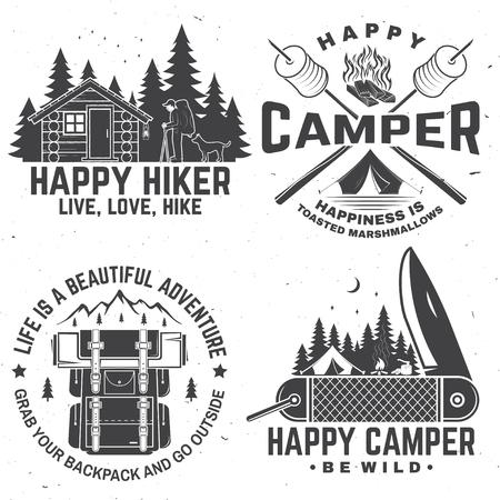 Happy camper. Vector illustration. Concept for shirt or logo, print, stamp or tee. Illustration
