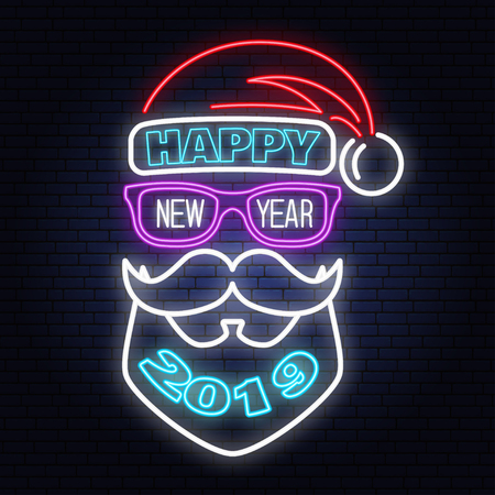 Happy New Year stamp, sticker set with Santa Claus. Vector illustration.