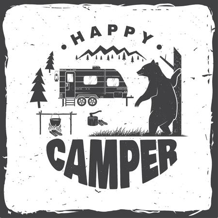 Camper felice. Illustrazione vettoriale. Concetto per maglietta o logo, stampa, timbro o t-shirt.