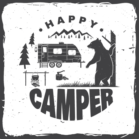Happy camper. Vector illustration. Concept for shirt or logo, print, stamp or tee. Vectores