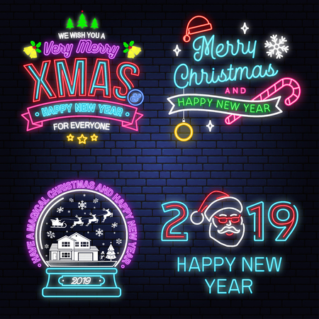 Have a Magical Christmas and Happy New Year neon sign with snowflakes, christmas snow globe. Vector.