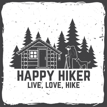 Happy hiker. Live, love, hike. Extreme adventure. Vector illustration. Stock Illustration - 111206777