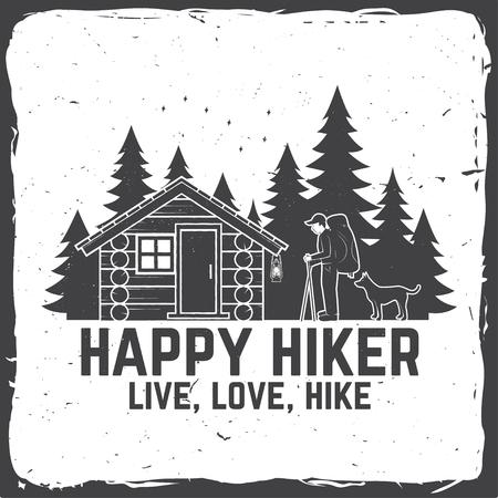 Happy hiker. Live, love, hike. Extreme adventure. Vector illustration. Stock Photo