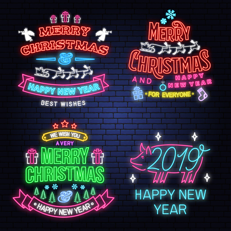 Set of Merry Christmas and Happy New Year neon sign with Santa Claus, snowflakes, angels, santa claus in sleigh with deer and christmas gifts. Vector. Neon design for xmas, new year emblem Illustration
