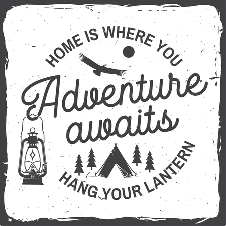 Adventure awaits. Vector illustration. Concept for badge, shirt or logo, print, stamp. Vintage typography design with campin tent, lantern, condor and forest silhouette.