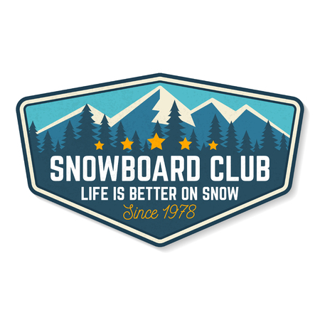 Snowboard Club patch. Vector illustration. Concept for shirt, print, stamp or tee. Design with forest and mountain silhouette. Extreme winter sport.