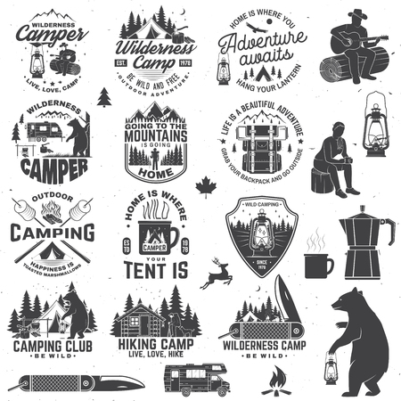Wilderness camp. Be wild and free. Vector. Concept for badge, shirt or logo, print, stamp, patch. Vintage typography design with trailer, tent, campfire, bear, pocket knife and forest silhouette