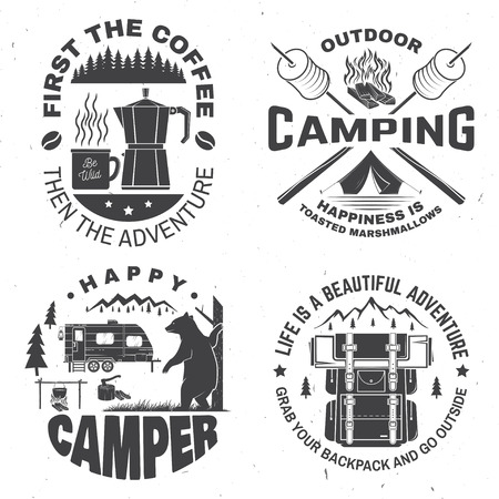Happy camper. Vector. Concept for shirt or logo, print, stamp. Vintage design with lantern, camping tent, campfire, coffee maker, sweet marshmallows on stick, mountain and forest silhouette.