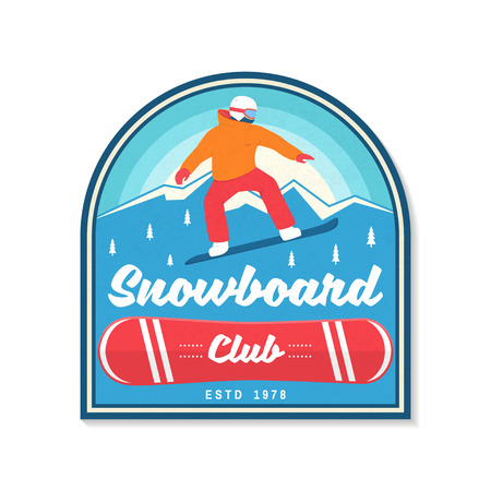Snowboard Club. Vector. Concept for patch, shirt, print, stamp or tee. Vintage typography design with snowboarder and mountain silhouette. Extreme sport. Stock Illustratie
