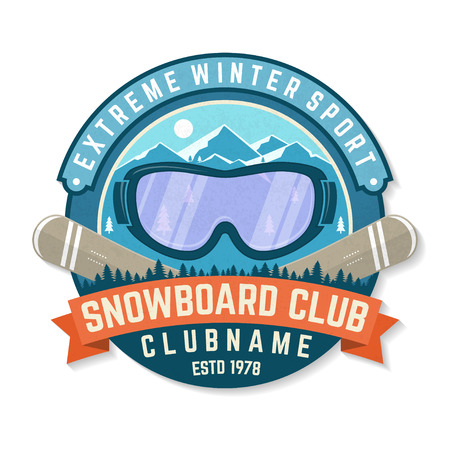 Snowboard Club patch. Vector. Concept for shirt , print, stamp, patch or tee. Vintage typography design with mountains and snowboard goggles silhouette. Extreme winter sport.