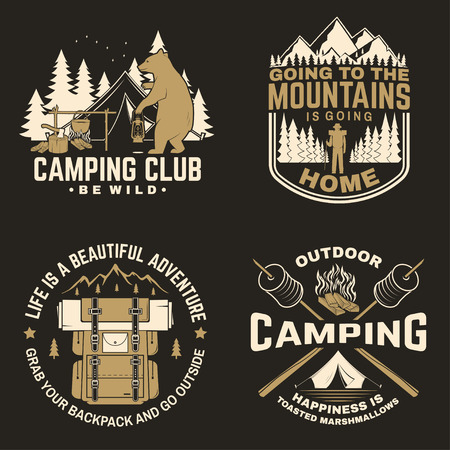 Happy camper. Vector. Concept for shirt or logo, print, stamp. Vintage design with lantern, camping tent, campfire, forest cabin, sweet marshmallows on stick, mountain and forest silhouette.