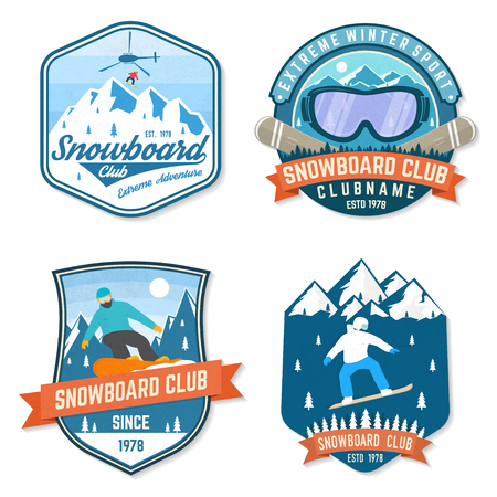 Set of Snowboard Club patches. Vector. Concept for patch, shirt, print, stamp or tee. Vintage typography design with snowboarder and mountain silhouette. Extreme sport.