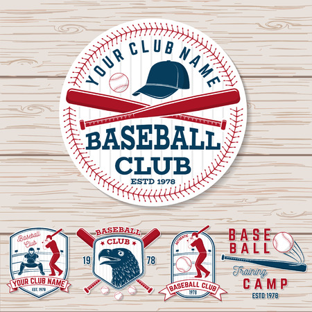 Set of baseball or softball club badge. Vector. Concept for shirt or logo, print, patch, stamp. Vintage typography design with baseball bats, batter hitting ball and ball for baseball silhouette. Illustration