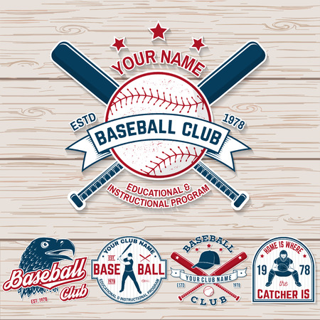 Set of baseball or softball club badge. Vector. Concept for shirt or logo, print, patch, stamp. Vintage typography design with baseball bats, batter hitting ball and ball for baseball silhouette. Çizim