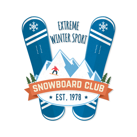 Snowboard Club. Vector illustration. Concept for shirt, patch, print, stamp. Vintage typography design with snowboard and mountain silhouette. Extreme winter sport.