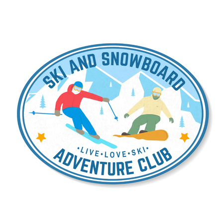 Ski and Snowboard Club. Vector illustration. Concept for shirt, print, stamp, badge. Vintage typography design with snowboarder and skier silhouette. Winter Extreme sport. Stock Illustratie