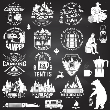 Wilderness camp. Be wild and free. Vector. Concept for badge, shirt or logo, print, stamp, patch. Vintage typography design with trailer, tent, campfire, bear, pocket knife and forest silhouette Standard-Bild - 112713661