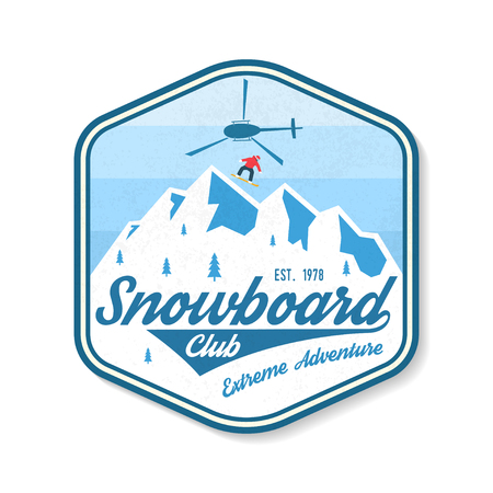 Snowboard Club patch. Vector. Concept for shirt, print, stamp, badge, patch or tee. Vintage typography design with snowboard, helicopter and mountain silhouette. Extreme sport.  イラスト・ベクター素材