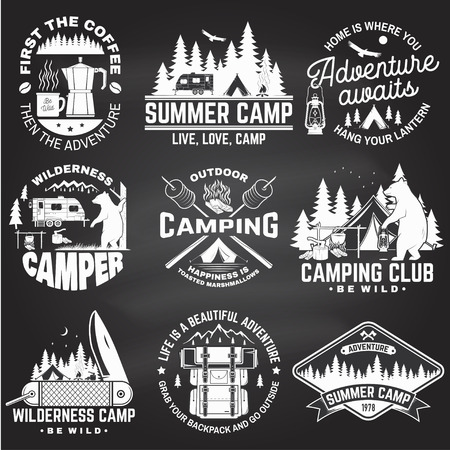 Summer camp. Vector on the chalkboard. Concept for shirt or patch, print, stamp. Vintage design with rv trailer, camping tent, campfire, bear, coffee maker, pocket knife and forest silhouette.