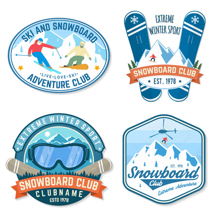 Set of Snowboard Club patches. Vector. Concept for patch, shirt, print, stamp. Vintage typography design with snowboarder and mountain silhouette. Extreme sport.