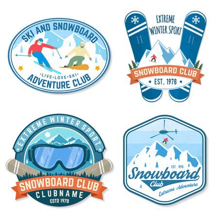Set von Snowboard Club-Patches. Vektor. Konzept für Patch, Shirt, Print, Stempel. Vintage-Typografie-Design mit Snowboarder und Bergsilhouette. Extremsport.