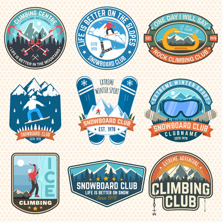 Set of Snowboarding and Rock Climbing club patches. Vector. Concept for patch, shirt, print, stamp. Vintage typography design with snowboarder, climber and mountain silhouette. Extreme sport. Stock Vector - 112713669