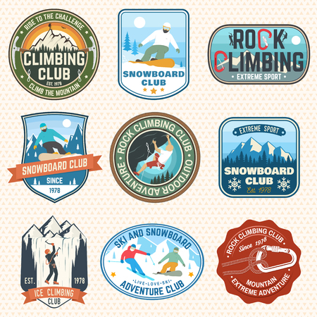 Set of Snowboarding and Rock Climbing club patches. Vector. Concept for patch, shirt, print, stamp. Vintage typography design with snowboarder, climber and mountain silhouette. Extreme sport. Foto de archivo - 112713670