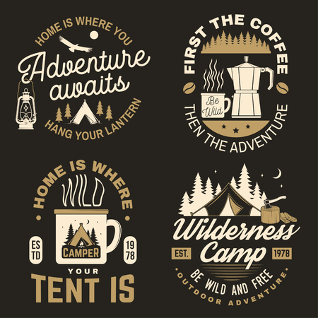 Home is where you tent is. Happy camper. Vector illustration. Concept for shirt or badge, overlay, print, stamp or tee.