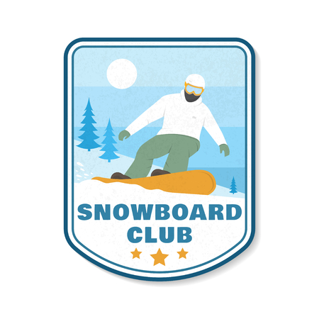 Snowboard Club patch. Vector. Concept for shirt, print, stamp, patch or tee. Vintage typography design with snowboard and mountain silhouette. Extreme sport.