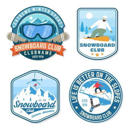 Ensemble de patchs Snowboard Club. Vecteur. Concept pour patch, chemise, impression, timbre ou tee. Conception de typographie vintage avec snowboarder et silhouette de montagne. Sport extrême. Vecteurs