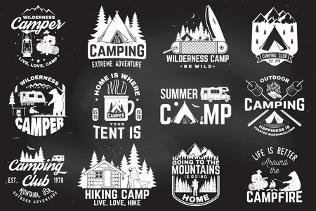Summer camp. Vector illustration. Concept for shirt or patch, print, stamp. Vintage typography design with rv trailer, camping tent, campfire, bear, man with guitar and forest silhouette. Standard-Bild - 112713676