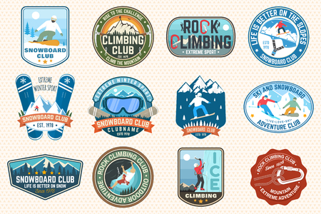 Set of Snowboarding and Rock Climbing club patches. Vector. Concept for patch, shirt, print, stamp. Vintage typography design with snowboarder, climber and mountain silhouette. Extreme sport. Stock Vector - 113023034