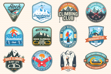Set of Snowboarding and Rock Climbing club patches. Vector. Concept for patch, shirt, print, stamp. Vintage typography design with snowboarder, climber and mountain silhouette. Extreme sport.