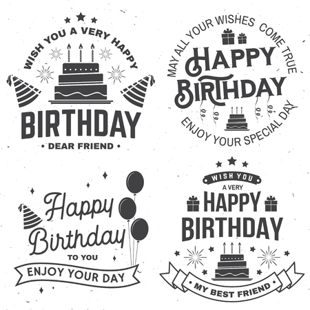 Set of Happy Birthday templates for badge, sticker, card with bunch of balloons, gifts, serpentine, hat and birthday cake with candles. Vector. Vintage design for birthday celebration