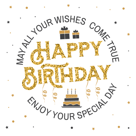 May all your wishes come true. Happy Birthday. Stamp, sticker, card with gifts and birthday cake with candles. Vector. Vintage typographic design for birthday celebration emblem in retro style Stock Illustratie